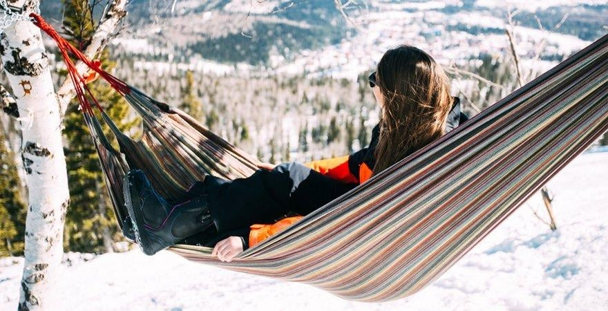 winter hammock in the mountain